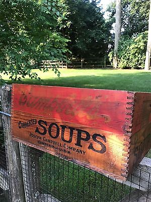 Early Antique Campbells Soup Wooden Shipping Crate Box Dovetailed