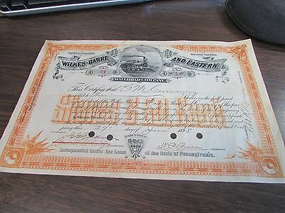 Wilkes-Barre And Eastern Railroad Company - Capital Stock Certificate 1898