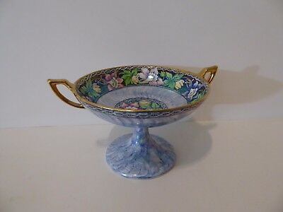 Vintage Maling Candy Dish Footed #6458 Columbine Spode Blue England  c. 40s