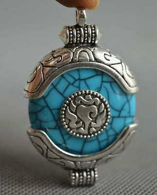 Collectable Handwork Decor Miao Silver Carve Flower Inlay Agate Fashion Pendant