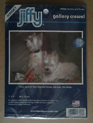 Stickpackung Stickset Crewel TERRIERS AND ROSES - jiffy DIMENSIONS (USA) - NEU