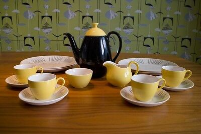 Rare Vintage Ridgway Park Lane 1950s 1960s Coffee Pot Set and Plates - Homemaker