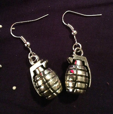 SOLID Grenade Weapon earrings goth punk 3D Wicked Dangle Handmade Suicide Squad