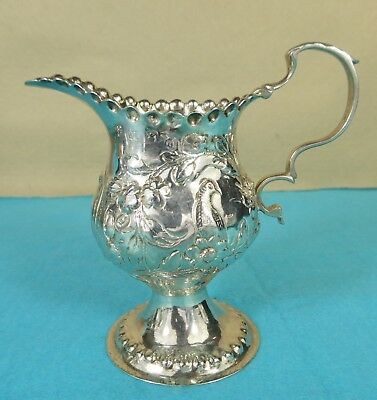 Beautiful Georgian Sterling Silver Milk Jug Creamer Bird Leaf Flower London 1775