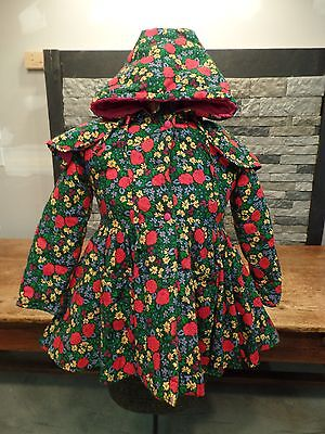 Rothschild Coat Floral Hooded With Cape Flare Vintage Kids Girls Sz 4 Cute!