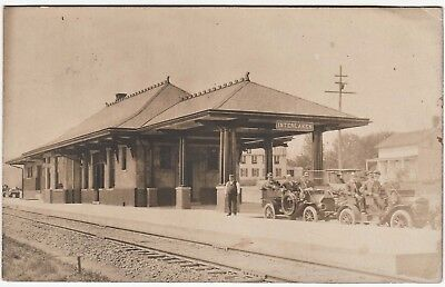 RARE RPPC  Railroad Station Depot RR Interlaken NY 1910 Real Photo Lehigh Valley