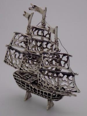 Vintage Solid Silver Italian Made LARGE Ship Figurine, Miniature, Stamped