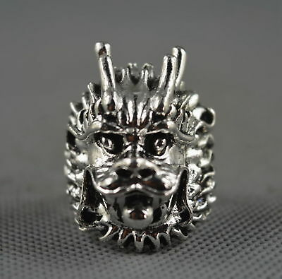China Collectable Handwork Decor Miao Silver Carve Myth Dragon Head Lucky Ring