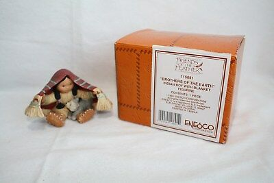 Friends of the Feather Figure Brothers Earth Indian Boy Blanket Enesco 115681