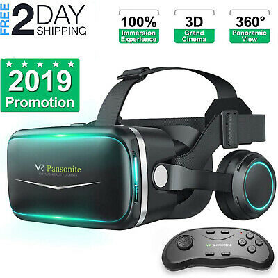 """3D Vr Headset Glasses Virtual Reality For 4.7""""- 6.0"""" Iphone 7 Plus + Controller"""