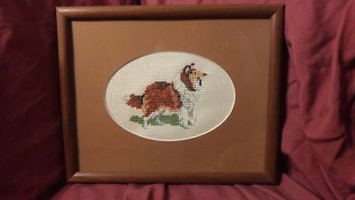 Hand Made Cross Stitch Rough Collie Picture Framed  - 100% to Rescue