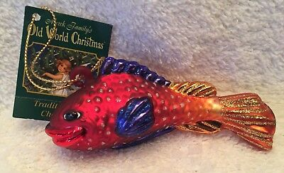 Caribbean Royal Gamma,Fish,Old World Christmas,2001 Collection,Blown Glass,Tag