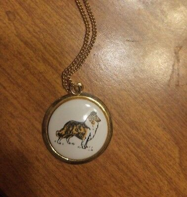 Rough Collie Pendant Goldtone Necklace Jewelry - 100% to Charity