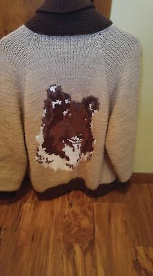 Vintage OOAK Knitted and Lined Rough Collie Portrait Knit Sweater 100% to Rescue