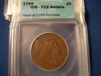 1794 Large Cent head of 94 F-12 details