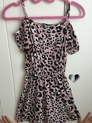 Girls New look 915 Shorts Play Suit Pink Leopard Print Age 9