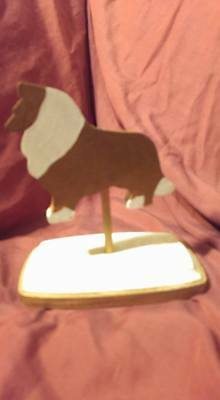 OOAK Hand Made Wooden Collie Silhouette Sable White Hand Painted 100% to Rescue