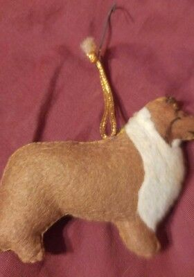 Felt Rough Collie Christmas Tree Holiday Ornament Stuffed Animal 100% to Rescue