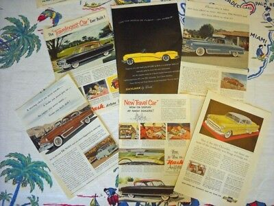 Lot of Six Vintage Ads for Cars 1951-1953 DeSoto, Nash, Buick, Chevrolet!