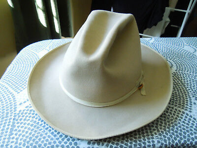 Vintage Stetson Hat Open Road 7 1/4  Silver Belly