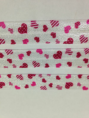 """1m/5m White with Hearts FOE 5/8"""" Fold Over Elastic Head Band Hairties"""