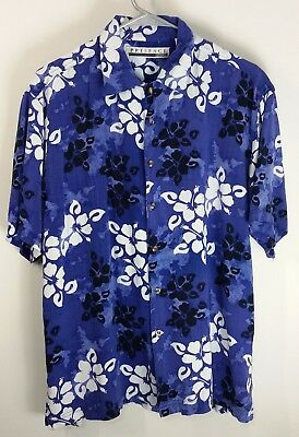 Vintage Hawaiian Blue Black and White Hibiscus Flowers Presence Clothing Company