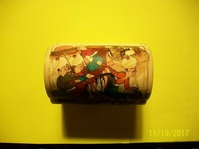 Vintage: Hand Carved And Painted Camel Bone Trinket Box In Excellant Condition