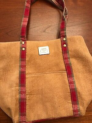 longaberger homestead tan corduroy tote with plaid brand new
