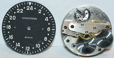Vintage Wakmann Swiss 8 Day 7J Military Aircraft Clock Parts Very Clean!