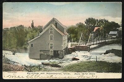 Flood At Mondovi, Wisconsin - Aug 18, 1907 - Hand-Colored PC - Divided Back