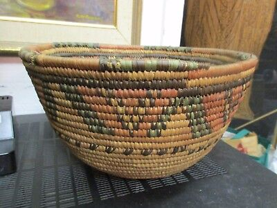Antique African Coiled Wedding Basket Bowl Multi Color