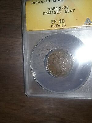 1854 Braided Hair Half Cent Anacs XF 40 Details