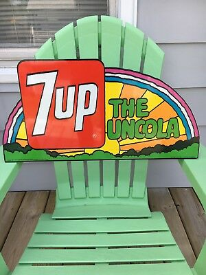 7 Up Rainbow Flange Sign Peter Max style artwork 1971 NEAR MINT VERY RARE!