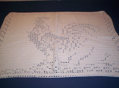 Vintage Figural Filet Crocheted Doily Rooster Chicken Farm