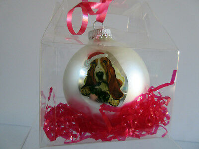 New Basset Hound Pet Dog Christmas Holiday Ball Ornament By Ruth Maystead