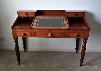 Antique Australian Colonial Cedar Tally Desk With Tooled Leather Inlay Ca 1870