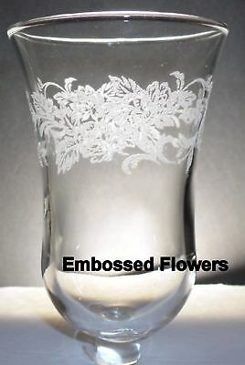 Home Interiors Embossed Flowers Clear Votive Cup w/ rubber grommet