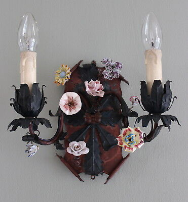 Antique French wrought iron tole & porcelain flowers wall sconce
