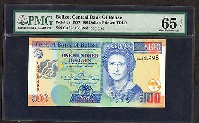 1997 Belize, Central Bank Of Belize 100  Dollars Pick # 65 Pmg 65 Lqqk!!*