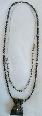 Rich gray pearls & Crystals with Leather & Vintage black crystal pendent