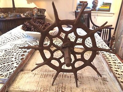 Antique Vtg INDUSTRIAL CAST IRON WHEEL Ornate Decor Metal Art Farm Sprocket Gear