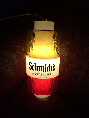 Vtg 1960's SCHMIDT OF PHILADELPHIA Hanging Beer Bar Sign Light w/bracket WORKS!
