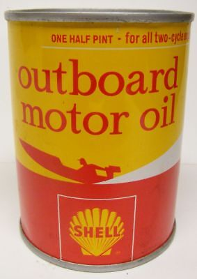 Excellent Can of SHELL Outboard Motor Oil 1/2 Pint Full Can of Oil