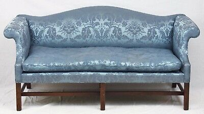 KITTINGER WILLIAMSBURG SOFA CW 23 Blue Damask Fabric Chippendale Chinese Legs