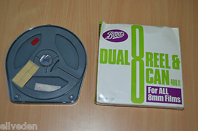 New Unused Vintage Boots Dual Reel & Can 400Ft For All 8mm Films Made In Italy