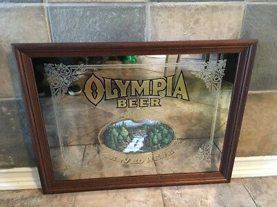 Large Olympia Beer Framed Mirror Sign Man Cave Bar Rec Room