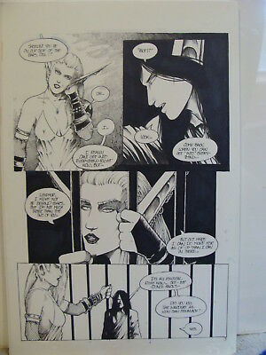 POISON ELVES #57 Pg 3 Original Pen & Ink LUSE in jail w CLEAH by DREW HAYES 1999