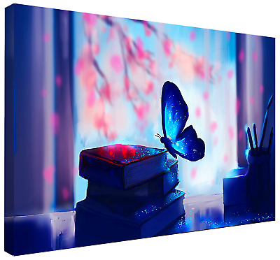 BLUE BUTTERFLY (FRAMED) CANVAS ART HD PRINT, FREE Shipping! ANIMALS