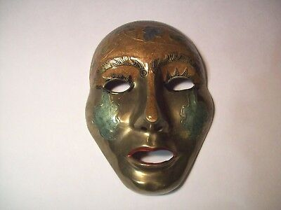 """VINTAGE BRASS METAL FACE MASK WALL HANGING DECORATIVE 7"""" MARDI GRAS style"""