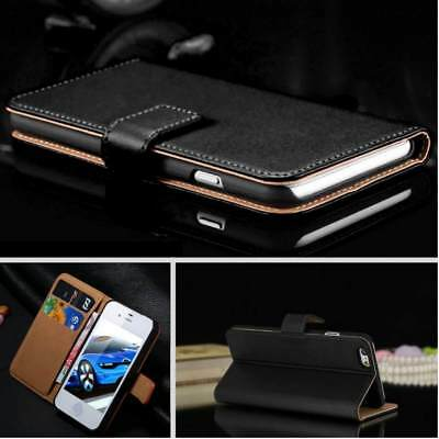 Case for Apple iPhone XS 6 7 8 5S Plus Smooth Real Genuine Leather Flip Wallet